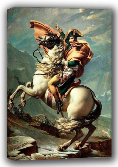 David, Jacques Louis: Napoleon (1769-1821) Crossing the Alps at the St Bernard Pass, 20th May 1800. Fine Art Canvas. Sizes: A4/A3/A2/A1 (001511)